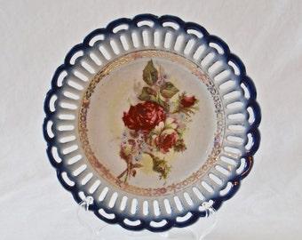 Vintage Porcelain Blue And Rose Plate, Vintage Reticulated Porcelain Plate