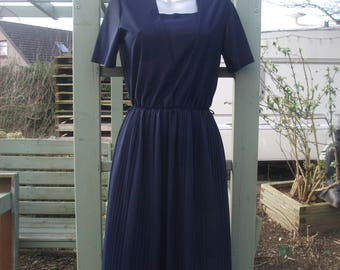 Vintage St Michael navy dress with pleats