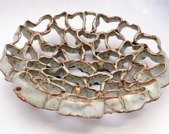 Ceramic Bowl, White Organic Bowl, White Coils Bowl,Fruit Bowl, Organic Design, Ceramic Decor, Home Decor