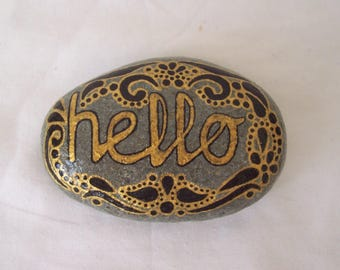 Mandala Message Pebble HELLO Golden Hand Painted Natural Pebble