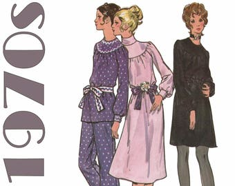 "1970s Dress Pattern High Neck Dress BUTTERICK 6046 bust 36"" Round Yoke Bishop Sleeves Loose-fitting Dress Tunic and Pants 70s Dress Pattern"