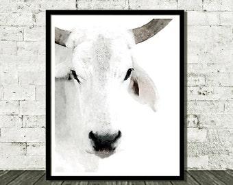 Cow Printable Art, Farmhouse Decor, Rustic Home Decor, Country Cottage, Rustic Wall Art, White Cow, Farm Animal Print, Cow Print