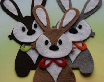 Felt Bunny Rabbits, Decorative Bunnies, Easter Bunny Shapes, Woodland Creatures, Felt Animal Shapes, Die Cut Animal Craft Embellishments