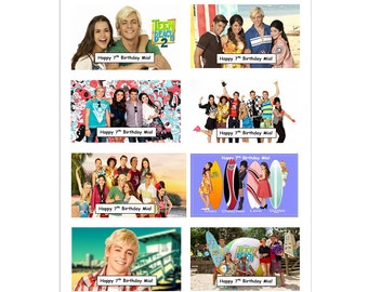 8 PERSONALIZED Teen Beach Movie inspired Stickers, Birthday Party Favors, Rewards, Labels, Crafts, Custom Made
