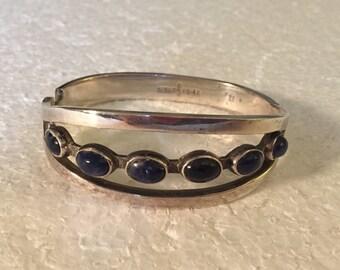 Vintage Sterling Silver Taxco Bracelet with Blue-Black Set in Lapis