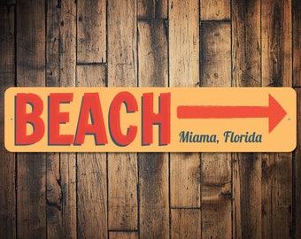Beach This Way Sign, Beach Arrow Sign, Beach Direction Sign, Beach Lover Gift, Beach House Decor, Beach Sign - Quality Aluminum ENS100060
