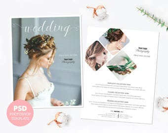 Pricing template. Wedding photography price list. Marketing & advertising template pricing guide. Fully editable Photoshop PSD files. PLT006