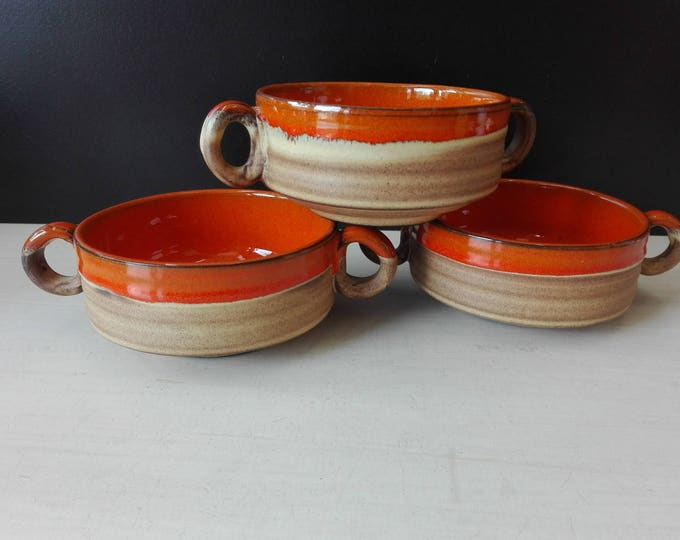3x soup bowl, retro lava design