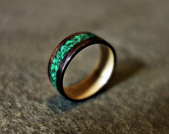 Handmade Wooden Ring with Malachite Inlay