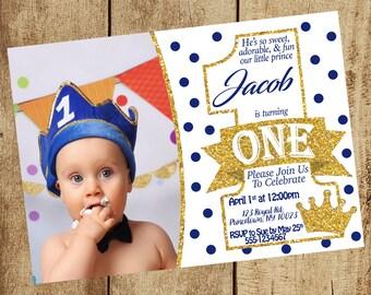 Prince Birthday Invitation First Birthday Invitations 1st Birthday Invitation Boy 1st Bday Invitation Invite 5x7 Digital PDF JPG
