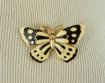 70s enamel butterfly pin, black & white gold metal butterfly brooch, 1970s vintage pin, vintage brooch, costume jewelry, jewellery