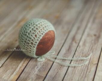 Mint Green Mohair Bonnet