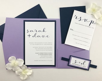 Lilac Wedding Invitations, Navy Blue And Lavender Pocket Invites, Beautiful  Folder Invitations With RSVP