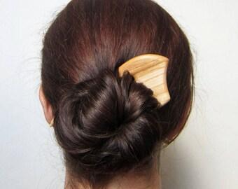 1 Wooden Hair Fork, hairfork, wood, hair stick wood, 3 prong, hair pin, elm wood.
