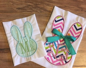 Monogrammed Easter Bunny with Bow Boy or Girl Shirt or Onesie Embroidered Personalized