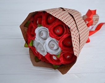 RAFFAELLO candies and red roses bouquet -  sweet chocolate candies bouquet - BIG  - gift idea for love girlfriend