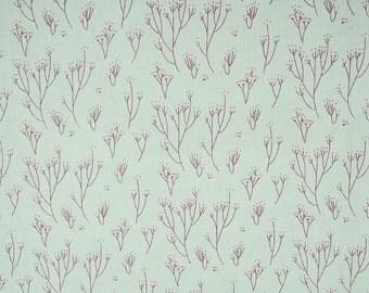 100% Cotton Linen Printed Sewing Fabric Pink/Lightgreen Flower Floral Patchwork Tablecloth 150cm wide - Price per half metre(SKU:CTJZ21FLC-)