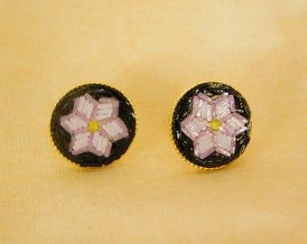 Micro mosaic stud earrings - pink flower on black background