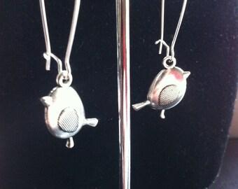 Silver Plated Robin Bird Drop Earrings
