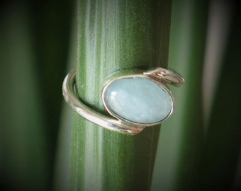Ring silver Sterling 950 with an aquamarine size 52-6 US