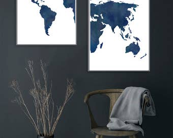 Blue world map etsy 2 piece watercolor midnight and navy blue world map a watercolor distressed rustic gumiabroncs Gallery