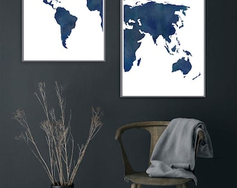 2 Piece Watercolor Midnight and navy blue World Map. A watercolor, distressed, rustic world map in deep shades of blue. INSTANT DOWNLOAD.