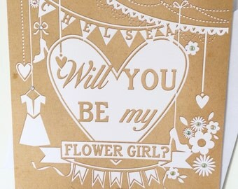 Will you be my Flower Girl Card, Personalised Wedding Card, Will you Flower Girl, Asking Flower Girl Card, Wedding Icons & Vintage Diamantés