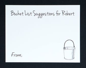 Bucket List Cards - Retirement Party - Personalized Name - Surprise Retirement Wishes - Bucket Suggestions & Ideas Card - Graduation Advice