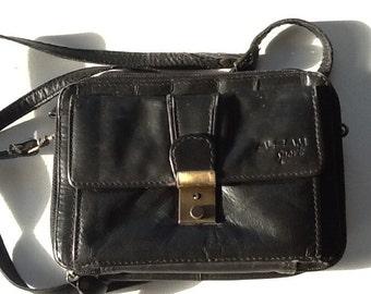 Vintage Black Small Leather Purse / Black Leather Shoulder Bag / Alcam Sport Leather Purse / Free Shipping