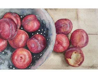 Watercolor painting for kitchen - original watercolor art - plums watercolor