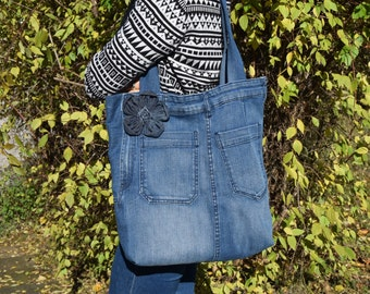Denim Bag, Denim Tote, Denim Purse, Big Shoulder Bag, Boho bag