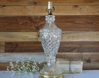 Large Clear Glass Table Lamp   Urn Table Lamp   Cut Crystal Glass   Brass  Accent