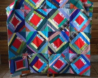 Vintage handmade Quilt - Patchwork Quilt Handmade - Polyester, Cotton & Wool Fabrics Quilt - 1970s - Retro