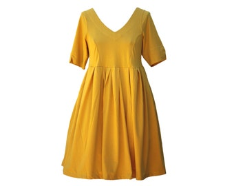 Vee Dress in yellow, black or green soft cotton jersey cross-back dress extensive size range available 6 - 32