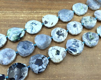 Faceted Bluish Agate Slice Beads Agate Slab Pendant Beads Large Agate Nugget Beads Focal Jewelry Beads 28-32*30-35mm 12 Pieces Full Strand