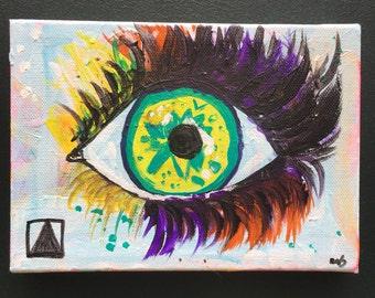 Vibrant Protective Eye Art, Green Eye Painting Evil Eye Decor Small Eye Art, Boho Eye Art, Abstract Eye Artwork, Eyes Painting, Abstract Art