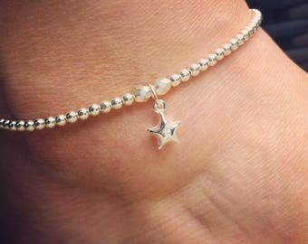 Sterling Silver Anklet/Ankle Bracelet with Sterling Silver 3D/Puff Star Charm, Beach Jewellery, Surf Style