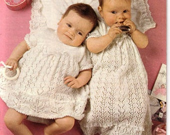 PDF Knitting Pattern-Baby Christening gown pattern- Long or short version in 3ply- fits chest 18-19 ""
