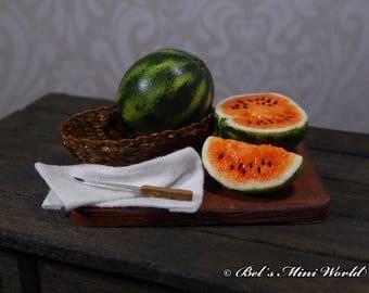 12th Scale handmade miniature Watermelon Wooden Board