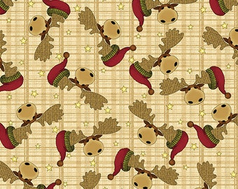 Christmas Fabric,A Moose For Christmas, Moose Fabric, tan plaid background, Moose with Santa hats, by Benartex, 1541