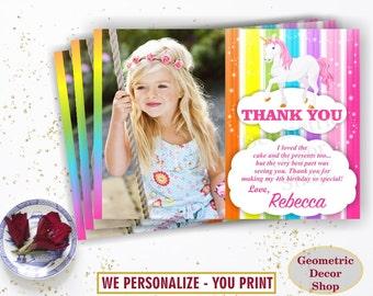 Unicorn Thank You Card - Unicorn Birthday Thank You Card Rainbow Birthday Party Photo Photograph THU9