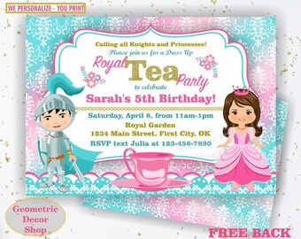 Princess Knight Tea Party Birthday Invitation Pink Invites Teal Invite Royal Tea Party Free Back Boy Girl joint combined dual double  BDT6