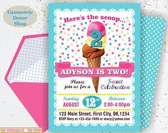 Ice cream Birthday Invitation, Sweet Birthday Invite, Summer Invites, Girl, Ice cream cone, Scoop, Pink Teal Yellow, Photo Photograph BDIC10