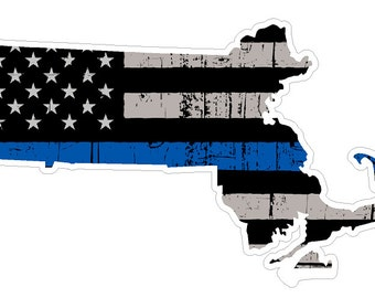 Massachusetts State (V22) Thin Blue Line Vinyl Decal Sticker Car/Truck Laptop/Netbook Window