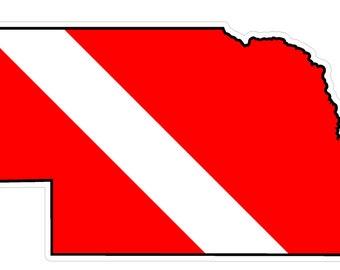 Nebraska State (Y28) Diver Down Flag Vinyl Decal Sticker Car Laptop/Netbook