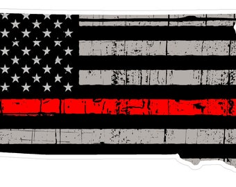 South Dakota State (C42) Thin Red Line Vinyl Decal Sticker Car/Truck Laptop/Netbook Window