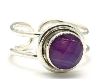 Purple Agate Ring, 925 Sterling Silver, Unique only 1 piece available! SIZE 7.75 (inner diameter 18mm), color purple, weight 5.21g, #1333