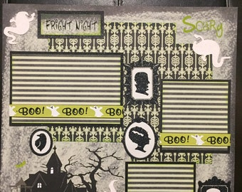 FRIGHT NIGHT! HALLOWEEN Premade 12x12 scrapbook page