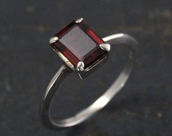 Garnet Ring--Emerald Cut Stone--Red Stone Ring--Blood Moon Ring--Alternative Engagement Ring--Silver Solitaire Ring--Unique Engagement Ring