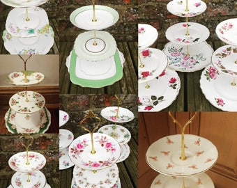 Job Lot 12 Vintage Mismatched China Mix 3 Tier Cake Stands Floral Perfect Tableware for Mad Hatters Party Wedding